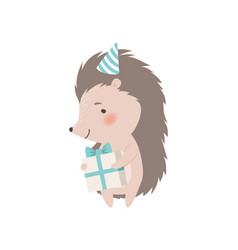 Cute hedgehog in birthday party holding gift box vector