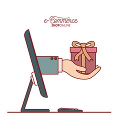 desktop computer with hand holding a small gift vector image