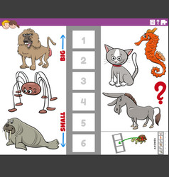 Educational game with big and small animals vector