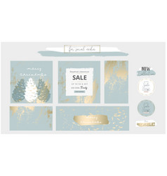 Elegant social media trendy chic gold grey blue vector