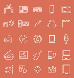 Entertainment line icons on orange background vector image