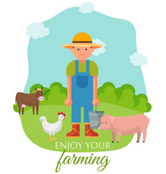 farmer standing on green lown with farm animals vector image