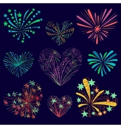 Festive patterned firework in the shape of a heart vector image