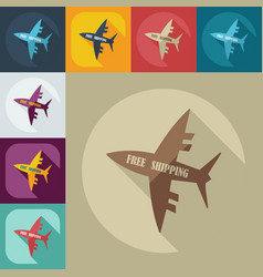 Flat modern design with shadow icons aircraft vector