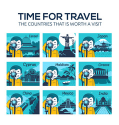 flat travel icons with character photographer vector image