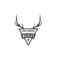 Forest adventure with antlers badge logo design te vector