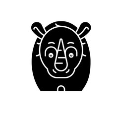 Funny rhino black icon sign on isolated vector