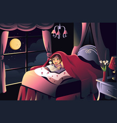 Girl reading a book in the bedroom vector