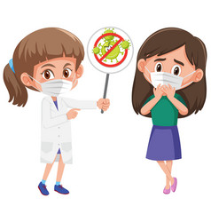 girl wearing mask with doctor holding stop vector image