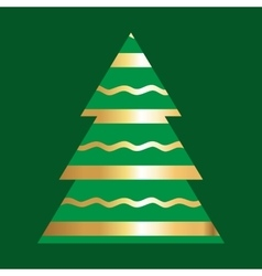 Gold And Green Christmas Tree Icon vector