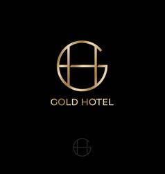 gold hotel logo gh premium monogram vector image