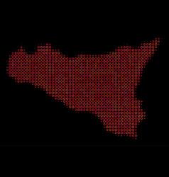 Halftone red sicilia map vector