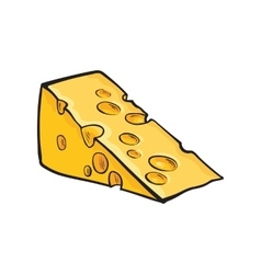 Hand drawn piece of Swiss cheese sketch style vector