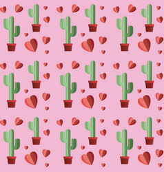 Hearts pattern with cactus plant vector