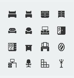 home furniture mini icons set 1 vector image
