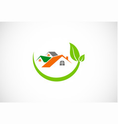 house green leaf environment logo vector image