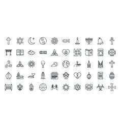 Icon set world religious world symbols vector