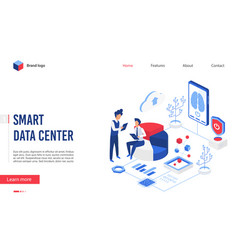 isometric smart data center vector image