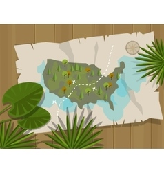 jungle map america cartoon adventure vector image