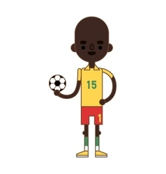 Little kid soccer boy playing with football sport vector image