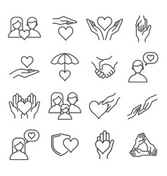 love and kindness heart line icons friends vector image