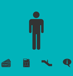 Man standing silhouette icon flat vector