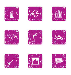 medieval theatre icons set grunge style vector image