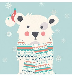 Merry Christmas card with hipster polar white bear vector