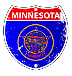 Minnesota flag icons as interstate sign vector