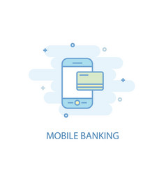 mobile banking line concept simple line icon vector image