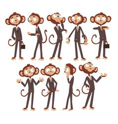 monkey businessman cartoon character dressed in vector image