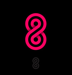 Number 8 consist red strips abstract logo vector
