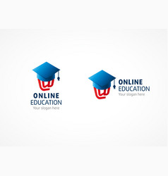 Online education logo riding hood vector