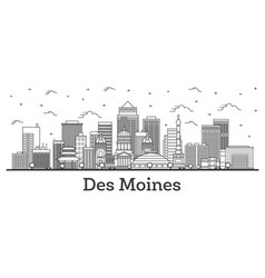 outline des moines iowa city skyline with modern vector image