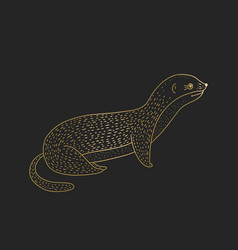 outline golden weasel icon on a black vector image