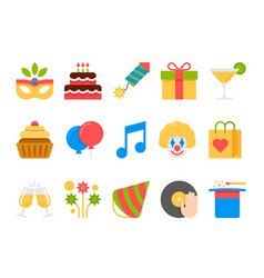 party holiday birthday flat icons set vector image