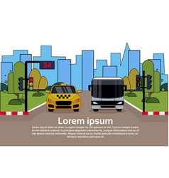 Road traffic with taxi car and bus over city vector
