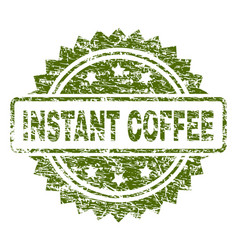 Scratched textured instant coffee stamp seal vector