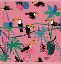 seamless pattern with toucan birds in the jungle vector image