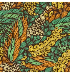Seamless vintage pattern with doodle flowers vector image