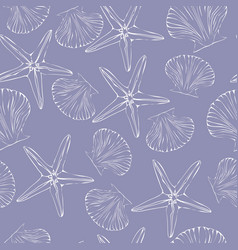 seashell seamless pattern scallop background vector image