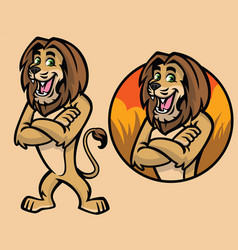 set cartoon lion character vector image