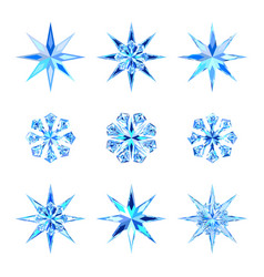 Set of cute blue bright ice snowflakes and stars vector