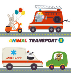 set of isolated transports with animals part 3 vector image