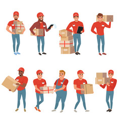 Set of postal workers in different poses courier vector