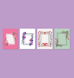 set of roses frame vector image