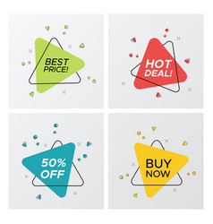 set of triangle flat sale tags with particle blast vector image