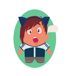 Shocked avatar of funny little person cartoon vector