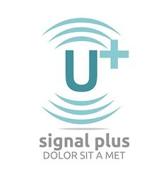 Signal letter u plus blue alphabet wireless vector