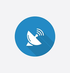 sputnik antenna Flat Blue Simple Icon with long vector image